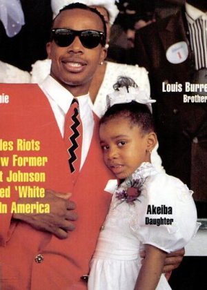 Akeiba Burrell on the cover of Jet with her father MC Hammer in 1992