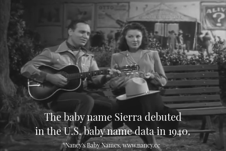 The baby name Sierra debuted in the U.S. baby name data in 1940.